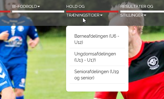 hold og traeningstider